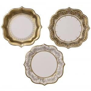 Papperstallrikar - Porcelain Gold - 20 cm