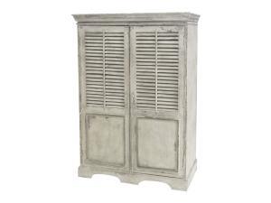 Chic AntiqueSkåp med jalusidörrar - Cremefärgat Vintage - 152 x 46 x 118 cm cm
