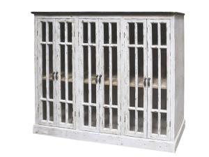 Chic AntiqueVitrinskåp - Vitt slitet med 6 dörrar - 100 x 123 cm