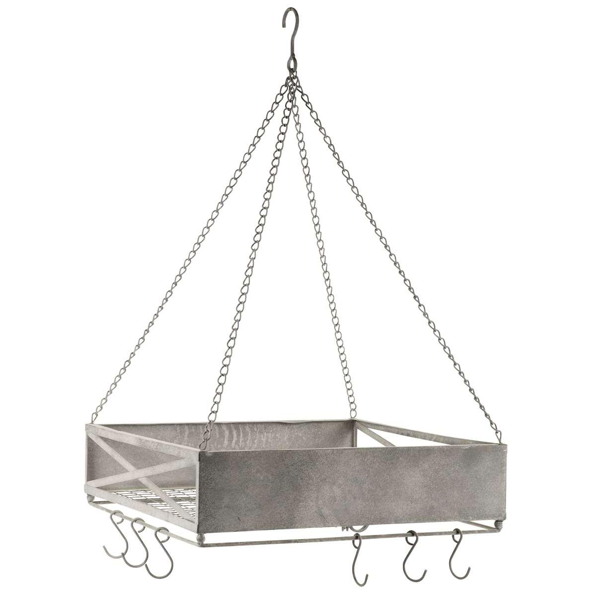Ful Koksbank : hylla koksbonk  Hongande kokshylla med krokar Zink 40o40 cm