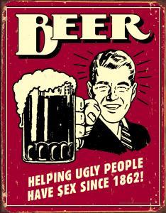 Beer Ugly People - Retro Metallskylt - 32 x 41 cm - www.frokenfraken.se