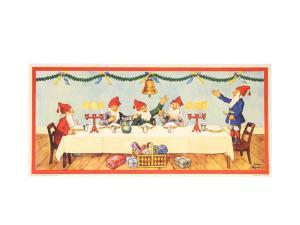 Julbonad - Tomtar vid bordet - 83 x 38 cm - www.frokenfraken.se
