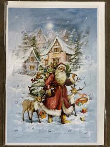Dubbel Kort/Adventskalender - Tomte vandrar i snön - 17 x 11,5 cm - www.frokenfraken.se