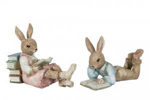 Påskdekoration - Kaniner som läser - 14 x 8 cm / 13 x 10 cm - www.frokenfraken.se
