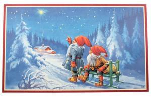 Julbonad - Tomtar förundras - 73 x 43 cm - www.frokenfraken.se