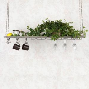 Hängande kökshylla med plats för vinglas - 120 x 25 cm - www.frokenfraken.se
