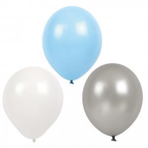 Ballonger - Blå, grå, vit - 9 st - www.frokenfraken.se