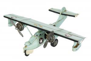 Flygplan - Metall/Ljusblå - Stor - 60 x 45 x 19 cm - www.frokenfraken.se