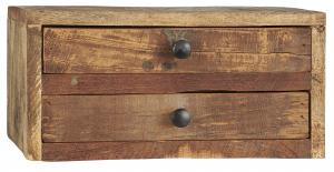 Byrå med 2 st lådor - Återvunnet trä - 15 x 30 cm - 2-pack - www.frokenfraken.se