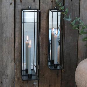 Väggljusstake - Metall med spegel - 35 x 8 cm - www.frokenfraken.se