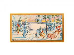 Julbonad - Tomtar åker skidor - 39 x 21 cm - www.frokenfraken.se
