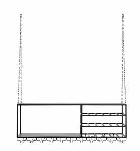 Hängande kökshylla med plats för vinglas - 120 x 42,5 x 30 cm - www.frokenfraken.se