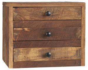 Byrå med 3 st lådor - Återvunnet trä - 25 x 30 cm - 2-pack - www.frokenfraken.se
