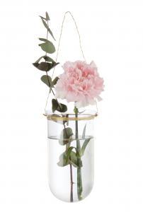 Ljuslykta/Ampel - Hängande glas med mässingstråd - Ø8 x 15 cm - www.frokenfraken.se