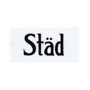 "Emaljskylt - ""Städ"" - 4,5 x 9 cm - www.frokenfraken.se"