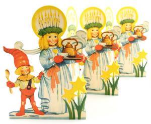 Julpynt - Gammaldags Pappersrad - Lucia - 16,5 x 69 cm - www.frokenfraken.se