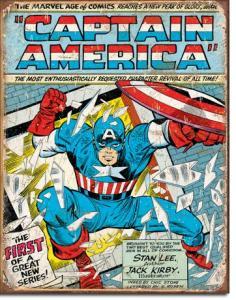 Captain America Comic Cover - Retro Metallskylt - 32 x 41 cm - www.frokenfraken.se