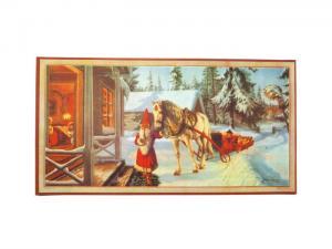 Julbonad - Tomte kommer med häst - 38 x 20 cm - www.frokenfraken.se