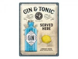 Plåtskylt - Gin & Tonic Served - 30 x 40 cm - www.frokenfraken.se