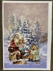 Dubbel Kort/Adventskalender - Tomte & barn sjunger i snön - 17 x 11,5 cm - www.frokenfraken.se