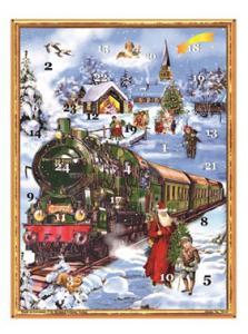 Adventskalender - Tåg med tomte & pojke - A3 - 42 x 29,7 cm - www.frokenfraken.se