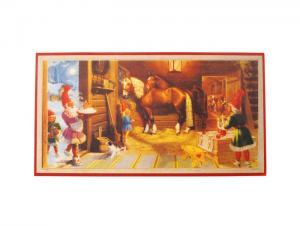 Julbonad - Tomte utfodrar hästarna - 41 x 21,5 cm - www.frokenfraken.se