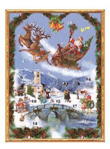 Adventskalender - Tomtesläde över by - A3 - 42 x 29,7 cm - www.frokenfraken.se