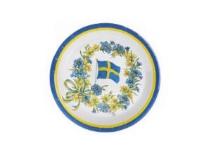 Papperstallrikar - blomflagga - 18 cm - www.frokenfraken.se