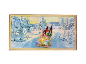 Julbonad - Tomte åker häst & vagn - 35 x 26 cm - www.frokenfraken.se