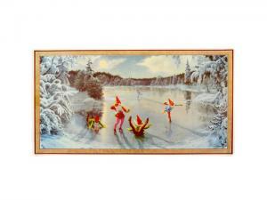 Julbonad - Tomtar på isen - 40 x 22 cm - www.frokenfraken.se