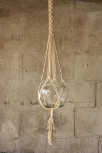 Ampel - Glas med rep natur - Makramé - 100 cm - www.frokenfraken.se