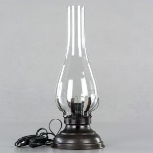 Lampa - Fotogenlampa med el - Antik Brun - 45 cm - www.frokenfraken.se