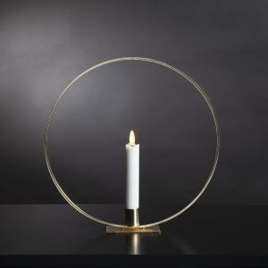 Stående ljusring - Mässing - Batteriljus flammande låga - 28 cm - www.frokenfraken.se