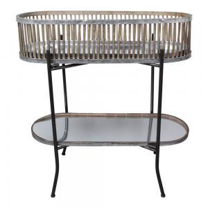 Blombord - Piedestal - Metall/Bambu - 80 x 28 x 76 cm - www.frokenfraken.se