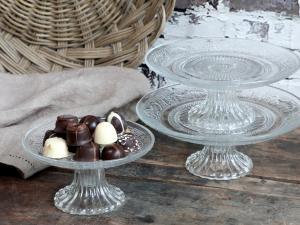 Tårtfat - Kakfat i glas med mönster - 7,5 x Ø20 - www.frokenfraken.se