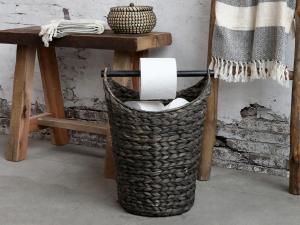 Toapappershållare - Korg med pinne för toapapper - Antik Svart - 40 x Ø30 cm - www.frokenfraken.se