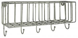 Väggkorg med krokar - Metall - 7,5 x 13 x 30 cm - www.frokenfraken.se