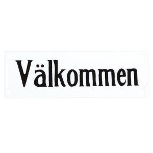 """Emaljskylt - """"Välkommen"""" - 15 x 5 cm - www.frokenfraken.se"""