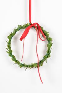 Julkrans med rött band - 15 cm - www.frokenfraken.se