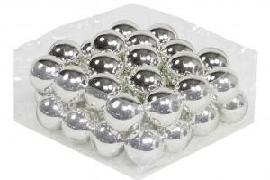 Julkula på ståltråd - Glas - Silver - 4 cm - 36-pack - www.frokenfraken.se