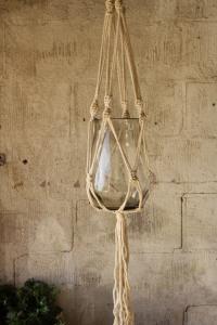 Ampel - Glas med rep natur - Makramé - 130 cm - www.frokenfraken.se