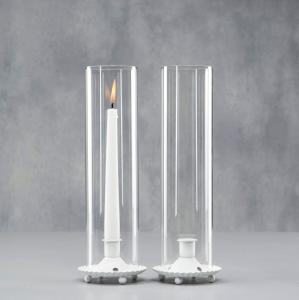 Ljuslykta - Cylinder - Glas - Vit - 10 x 32 cm - www.frokenfraken.se