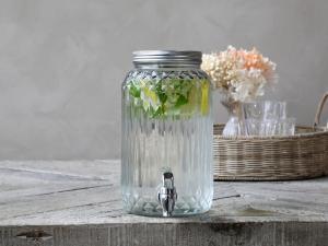 Dispenser i glas med tappkran 3,5 liter - 25,5 x Ø14 cm - www.frokenfraken.se