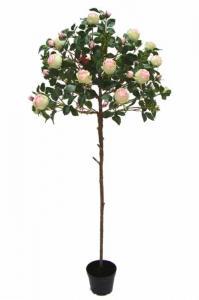 Ros på stam - Ljusrosa - Konstväxt - 170 cm