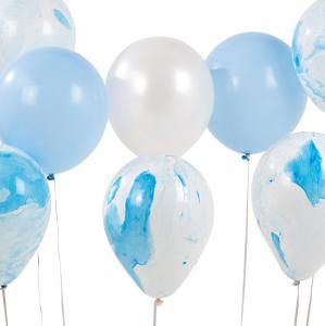 Ballonger - Marmor, vita & blå - 12 st - 30 cm - www.frokenfraken.se
