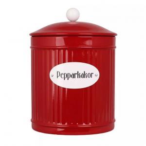 Plåtburk - Papparkakor - Röd - Ø14,5 x 20 cm - www.frokenfraken.se
