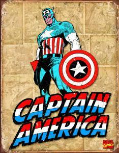 Captain America - Retro Metallskylt - 32x41 cm - www.frokenfraken.se