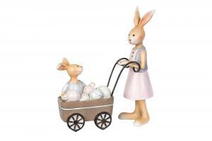 Kaninmamma med barnvagn - 15 cm - www.frokenfraken.se