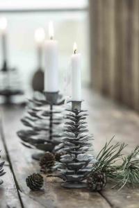 Ljushållare - Gran - för julgransljus - zink - 12,5 x 6 cm - www.frokenfraken.se