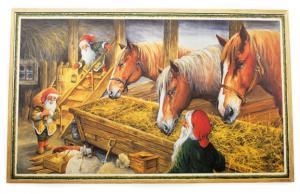 Julbonad - Tomtar utfodrar hästarna - 69 x 43 cm - www.frokenfraken.se